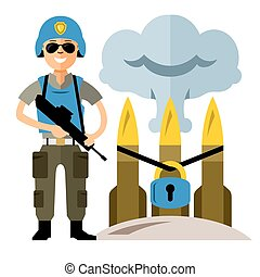 Vector Peacemaker in blue helmet. Flat style colorful Cartoon illustration.