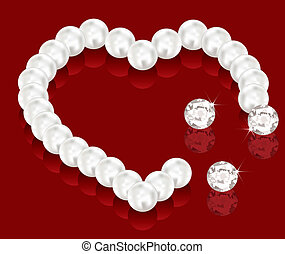 vector pearl beads for valentine day