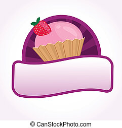 vector, pedazo, pastel, ilustración, cupcake