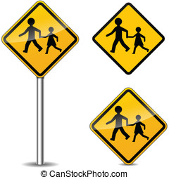 Vector pedestrians signs
