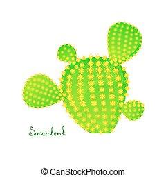 vector, peer, illustratie, stekelig, groene, cactus