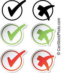 vector, pegatinas, marca de verificación