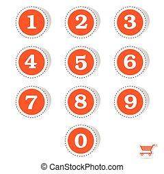 vector, pegatinas, números, ilustración, rojo