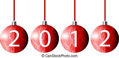 vector, pelotas, navidad, rojo, 2012
