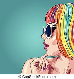vector, peluca, gafas de sol, blanco, colorido, hermoso, llevando, mujer