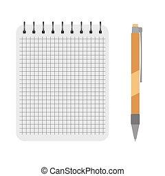 vector, pen, aantekenboekje, gele