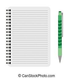 vector, pen, aantekenboekje, groene