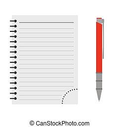 vector, pen, aantekenboekje, rood
