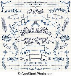 Vector Pen Drawing Floral Design Elements, Ribbons