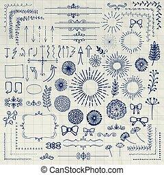 Vector Pen Drawing Floral Rustic Design Elements