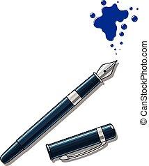 vector, pen, vlek, illustratie, inkt