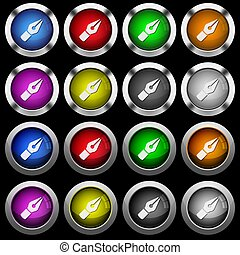 Vector pen white icons in round glossy buttons on black background