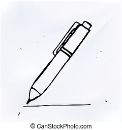 Vector pen with line hand drawn, doodle object