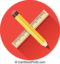 Vector Pencil And Ruler Icon