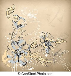 Vector Pencil Hand Drawing Flowers