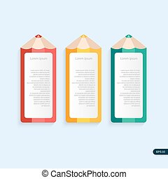 Vector pencil template with place for your content. Three pencils in different color.