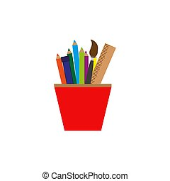 Vector pencils and ruler in glass colorful icon over white background, flat isolated