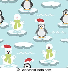 vector penguin and snowman