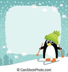 vector, penguin, winter, achtergrond, besneeuwd