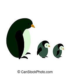 Vector Penguin with Children