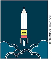 Vector pensil-copywriting emblem - Pencil takes off like a ...