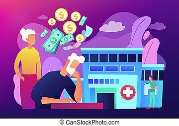 vector, pensioentrekkeren, concept, illustration., kosten, gezondheidszorg