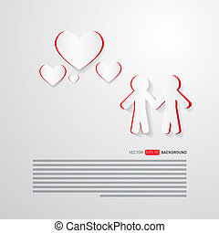 Vector People and Paper Hearts Abstract Background