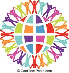 vector people around the world, peace or travel concept
