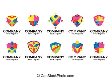 vector people community shield logo.