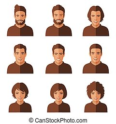 vector people faces.