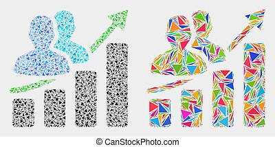 Vector People Growing Chart Mosaic Icon of Triangle Items