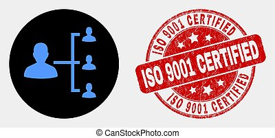Vector People Hierarchy Icon and Scratched ISO 9001 Certified Stamp