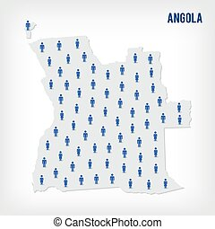 Vector people map of Angola. The concept of population.