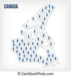 Vector people map of Canada . The concept of population.
