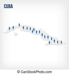 Vector people map of Cuba . The concept of population.