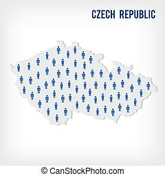 Vector people map of Czech Republic . The concept of population.