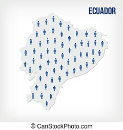 Vector people map of Ecuador . The concept of population.