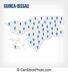 Vector people map of Guinea-Bissau . The concept of population.