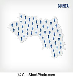 Vector people map of Guinea. The concept of population.