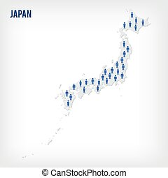 Vector people map of Japan . The concept of population. Can...