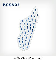 Vector people map of Madagascar . The concept of population.