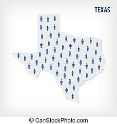 Vector people map of of State of Texas. The concept of population.