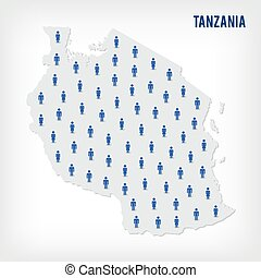 Vector people map of Tanzania. The concept of population.