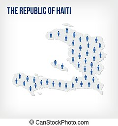 Vector people map of The Republic of Haiti. The concept of population.