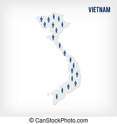 Vector people map of Vietnam. The concept of population.