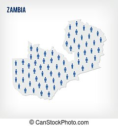 Vector people map of Zambia. The concept of population.