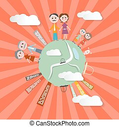Vector People on Globe - Retro Illustration