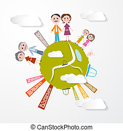 Vector People on Green Globe Illustration