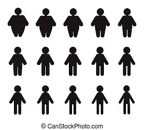 Vector People Pictograms with Fat to Thin Transformation -...