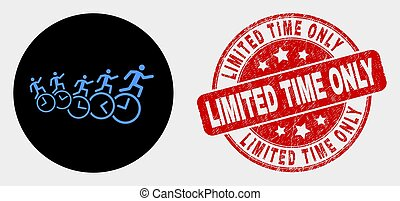 Vector People Run Over Clocks Icon and Distress Limited Time Only Seal